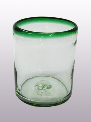 MEXICAN GLASSWARE / 'Emerald Green Rim' tumblers (set of 6)